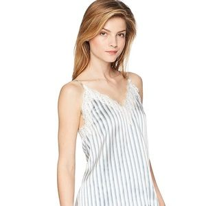 The Kooples Striped Lace-Inset Silk Cami